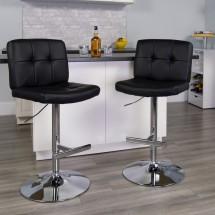 Flash Furniture DS-829-BK-GG Contemporary Tufted Black Vinyl Adjustable Height Bar Stool addl-3