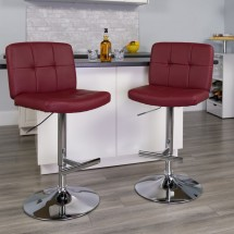 Flash Furniture DS-829-BURG-GG Contemporary Tufted Burgundy Vinyl Adjustable Height Bar Stool addl-3