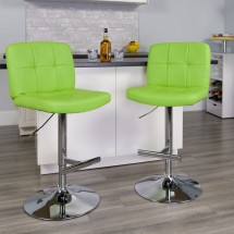 Flash Furniture DS-829-GRN-GG Contemporary Tufted Green Vinyl Adjustable Height Bar Stool addl-3