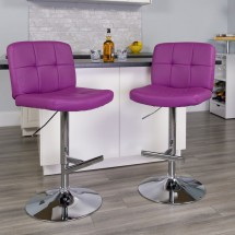 Flash Furniture DS-829-PUR-GG Contemporary Tufted Purple Vinyl Adjustable Height Bar Stool addl-3