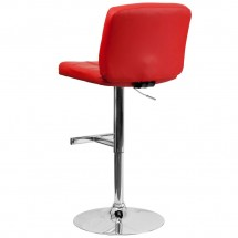 Flash Furniture DS-829-RED-GG Contemporary Tufted Red Vinyl Adjustable Height Bar Stool addl-1