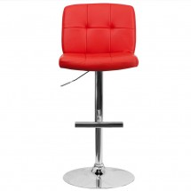 Flash Furniture DS-829-RED-GG Contemporary Tufted Red Vinyl Adjustable Height Bar Stool addl-2