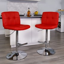 Flash Furniture DS-829-RED-GG Contemporary Tufted Red Vinyl Adjustable Height Bar Stool addl-3
