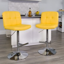 Flash Furniture DS-829-YEL-GG Contemporary Tufted Yellow Vinyl Adjustable Height Bar Stool addl-3