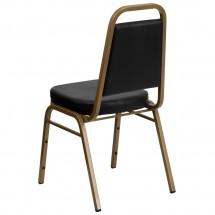 Flash Furniture FD-BHF-1-ALLGOLD-BK-GG HERCULES Trapezoidal Back Stacking Banquet Chair, Black Vinyl - Gold Frame addl-1