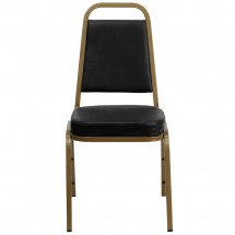 Flash Furniture FD-BHF-1-ALLGOLD-BK-GG HERCULES Trapezoidal Back Stacking Banquet Chair, Black Vinyl - Gold Frame addl-2