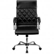 Flash Furniture GO-1297H-HIGH-BK-GG Black High Back Designer Leather Executive Office Chair with Chrome Base addl-2