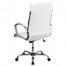 Flash Furniture GO-1297H-HIGH-WHITE-GG White High Back Designer Leather Executive Office Chair with Chrome Base addl-1
