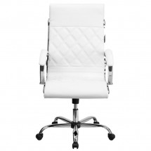 Flash Furniture GO-1297H-HIGH-WHITE-GG White High Back Designer Leather Executive Office Chair with Chrome Base addl-2