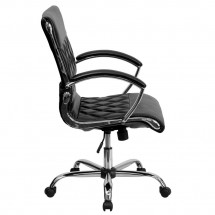 Flash Furniture GO-1297M-MID-BK-GG Black Mid-Back Designer Leather Executive Office Chair with Chrome Base addl-4