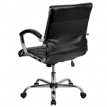 Flash Furniture GO-1297M-MID-BK-GG Black Mid-Back Designer Leather Executive Office Chair with Chrome Base addl-1