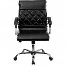 Flash Furniture GO-1297M-MID-BK-GG Black Mid-Back Designer Leather Executive Office Chair with Chrome Base addl-2
