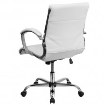 Flash Furniture GO-1297M-MID-WHITE-GG White Mid-Back Designer Leather Executive Office Chair with Chrome Base addl-1
