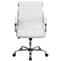 Flash Furniture GO-1297M-MID-WHITE-GG White Mid-Back Designer Leather Executive Office Chair with Chrome Base addl-2