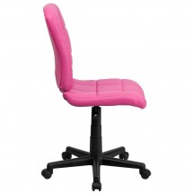 Flash Furniture GO-1691-1-PINK-GG Pink Mid-Back Quilted Vinyl Task Chair addl-1