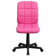 Flash Furniture GO-1691-1-PINK-GG Pink Mid-Back Quilted Vinyl Task Chair addl-3