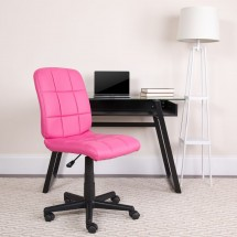 Flash Furniture GO-1691-1-PINK-GG Pink Mid-Back Quilted Vinyl Task Chair addl-4
