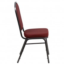 Flash Furniture NG-C01-HTS-2201-SV-GG HERCULES Crown Back Stacking Banquet Chair with Burgundy Patterned Fabric - Silver Vein Frame addl-4