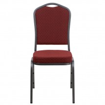 Flash Furniture NG-C01-HTS-2201-SV-GG HERCULES Crown Back Stacking Banquet Chair with Burgundy Patterned Fabric - Silver Vein Frame addl-2