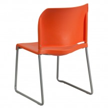 Flash Furniture RUT-238A-OR-GG HERCULES Series 880 Lb. Capacity Orange Full Back Contoured Stack Chair with Sled Base addl-1
