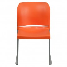 Flash Furniture RUT-238A-OR-GG HERCULES Series 880 Lb. Capacity Orange Full Back Contoured Stack Chair with Sled Base addl-2
