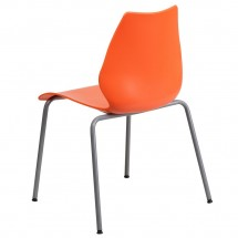 Flash Furniture RUT-288-ORANGE-GG HERCULES Series 770 Lb. Capacity Orange Stack Chair with Lumbar Support and Silver Frame addl-1