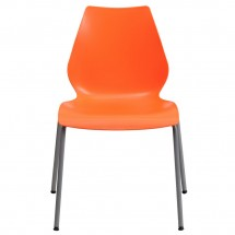 Flash Furniture RUT-288-ORANGE-GG HERCULES Series 770 Lb. Capacity Orange Stack Chair with Lumbar Support and Silver Frame addl-2