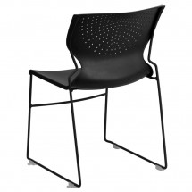 Flash Furniture RUT-438-BK-GG HERCULES Series 661 Lb. Capacity Black Full Back Stack Chair with Black Frame addl-1