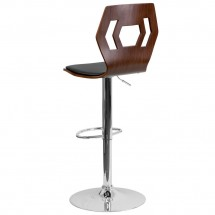 Flash Furniture SD-2162-WAL-GG Walnut Bentwood Adjustable Height Bar Stool with Black Vinyl Seat and Cutout Back addl-1