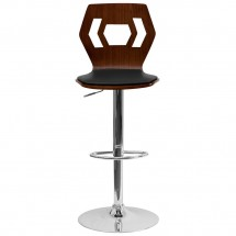 Flash Furniture SD-2162-WAL-GG Walnut Bentwood Adjustable Height Bar Stool with Black Vinyl Seat and Cutout Back addl-2