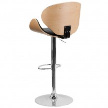 Flash Furniture SD-2203-BEECH-GG Beech Bentwood Adjustable Height Bar Stool with Curved Black Vinyl Seat and Back addl-1