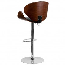 Flash Furniture SD-2203-WAL-GG Walnut Bentwood Adjustable Height Bar Stool with Curved Black Vinyl Seat and Back addl-1