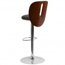 Flash Furniture SD-2220-WAL-GG Walnut Bentwood Adjustable Height Bar Stool with Black Vinyl Seat and Cutout Back addl-1