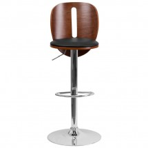 Flash Furniture SD-2220-WAL-GG Walnut Bentwood Adjustable Height Bar Stool with Black Vinyl Seat and Cutout Back addl-2