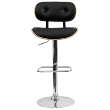 Flash Furniture SD-2228-BEECH-GG Beech Bentwood Adjustable Height Bar Stool with Button Tufted Black Vinyl Upholstery addl-3