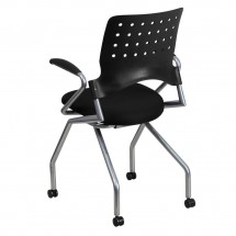 Flash Furniture WL-A224V-A-GG Galaxy Mobile Nesting Chair with Arms and Black Fabric Seat addl-1