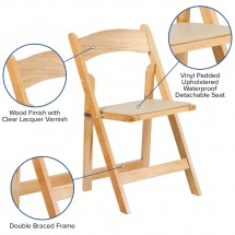 Flash Furniture XF-2903-NAT-WOOD-GG HERCULES Series Natural Wood Folding Chair with Vinyl Padded Seat addl-5