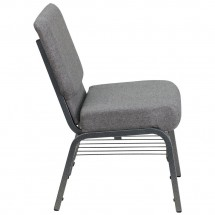 Flash Furniture XU-CH0221-GY-SV-BAS-GG HERCULES Series 21 Extra Wide Gray Church Chair with Book Rack - Silver Vein Frame addl-4