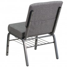 Flash Furniture XU-CH0221-GY-SV-BAS-GG HERCULES Series 21 Extra Wide Gray Church Chair with Book Rack - Silver Vein Frame addl-1