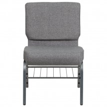 Flash Furniture XU-CH0221-GY-SV-BAS-GG HERCULES Series 21 Extra Wide Gray Church Chair with Book Rack - Silver Vein Frame addl-2