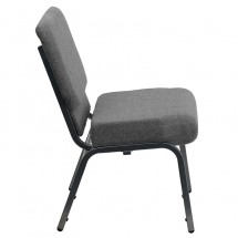 "Flash Furniture XU-CH0221-GY-SV-GG HERCULES Series 21"" Extra Wide Gray Stacking Church Chair with 3-3/4"" Thick Seat - Silver Vein Frame addl-1"