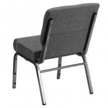"Flash Furniture XU-CH0221-GY-SV-GG HERCULES Series 21"" Extra Wide Gray Stacking Church Chair with 3-3/4"" Thick Seat - Silver Vein Frame addl-2"
