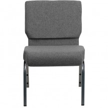 "Flash Furniture XU-CH0221-GY-SV-GG HERCULES Series 21"" Extra Wide Gray Stacking Church Chair with 3-3/4"" Thick Seat - Silver Vein Frame addl-3"