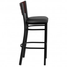 Flash Furniture XU-DG-60118-MAH-BAR-BLKV-GG HERCULES Black Decorative Cutout Back Metal Restaurant Barstool. Mahogany Wood Back, Black Vinyl Seat addl-4