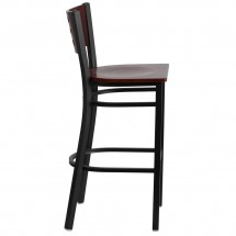 Flash Furniture XU-DG-60118-MAH-BAR-MTL-GG HERCULES Series Black Decorative Cutout Back Metal Restaurant Barstool with Mahogany Wood Back and Seat addl-4