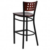Flash Furniture XU-DG-60118-MAH-BAR-MTL-GG HERCULES Series Black Decorative Cutout Back Metal Restaurant Barstool with Mahogany Wood Back and Seat addl-1