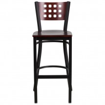 Flash Furniture XU-DG-60118-MAH-BAR-MTL-GG HERCULES Series Black Decorative Cutout Back Metal Restaurant Barstool with Mahogany Wood Back and Seat addl-2