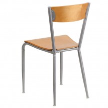 Flash Furniture XU-DG-60217-NAT-GG Invincible Series Metal Restaurant Chair with Natural Wood Back and Seat addl-1