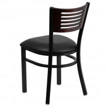 Flash Furniture XU-DG-6G5B-WAL-BLKV-GG HERCULES Series Black Decorative Slat Back Metal Restaurant Chair with Walnut Wood Back and Black Vinyl Seat addl-1