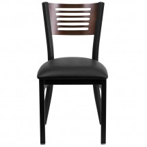 Flash Furniture XU-DG-6G5B-WAL-BLKV-GG HERCULES Series Black Decorative Slat Back Metal Restaurant Chair with Walnut Wood Back and Black Vinyl Seat addl-2
